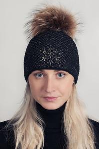 Čepice s mývalovcem - černozlatá