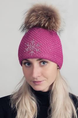 Čepice s mývalovcem - sytě růžová